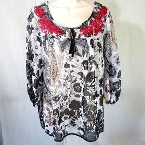 One World Sheer Tunic Peasant Top Shirt Size S